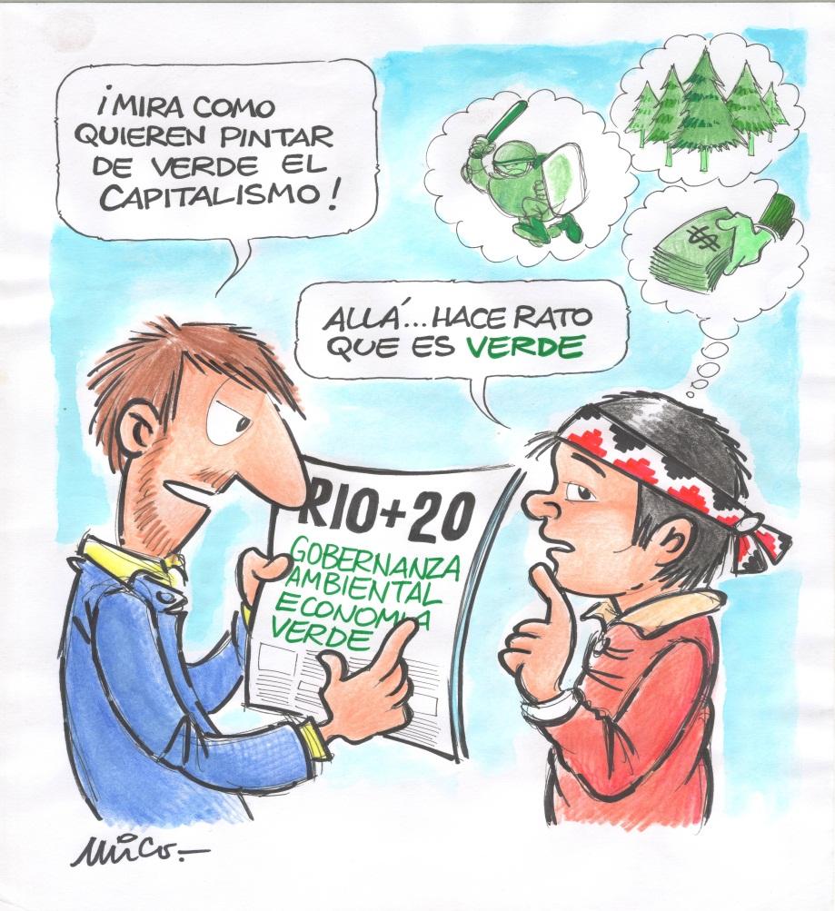 Imagen: En el sur de Chile, dice este comunero mapuche, la economía a base de plantaciones, sobornos y violencia del estado es verde hace rato. Autor: Mico. Fuente: OLCA.